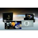 9 vzácných kovů a kamenů v jedné minci symbolizujících naši sluneční soustavu - 50. výročí přistání na měsíci