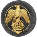 Sokol s erbovním štítem - symbol rodu Plantagenetů (piedfort) - zušlechtění ryzím zlatem a černým rhodiem