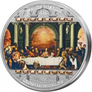 Poslední večeře - věhlasné světové umělecké dílo na atraktivní stříbrné minci s krystaly Swarovski