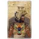 Věhlasná egyptská královna Kleopatra – stříbrný a zlatý mincovní skvost s ručně broušenými drahokamy