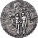 Adam a Eva v Rajské zahradě na exkluzivní stříbrné minci s vysokým reliéfem a originálním balením