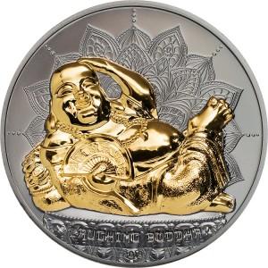 Smějící se Buddha na exluzivní stříbrné minci parciálně zušlechtěné ryzím zlatem