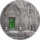 Chrám Angkor významná kulturní památka na stříbrné minci s vysokým reliéfem - exkluzivní edice Tiffany art