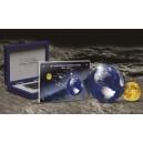 50. výročí přistání na Měsíci na atraktivní stříbrné a zlaté minci - zušlechtění vzácným rhodiem - unikátní ražba bez hran