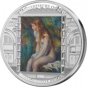 Mladá koupající se dívka od věhlasného Augusta Renoira - atraktivní stříbrná mince s krystaly Swarovski