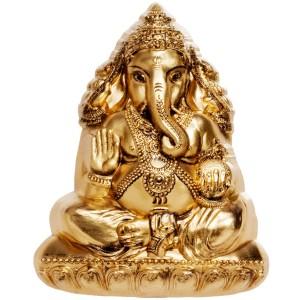 Hinduistický Bůh štěstí na atraktivní stříbrné minci zušlechtěné ryzím zlatem