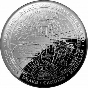 Nová mapa světa z roku 1626 na atraktivní stříbrné minci