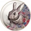 Nádherné vyobrazení králíka symbolizujícího nevinnost a mírumilovnost na atraktivní stříbrné minci