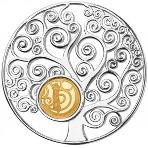Strom života - mincovní skvost ze stříbra a zlata parciálně  zušlechtěný vzácným rhodiem