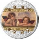 Andělé Sixtínské madony Raffaela Santiho - atraktivní stříbrná mince s krystaly Swarovski ve tvaru hvězd