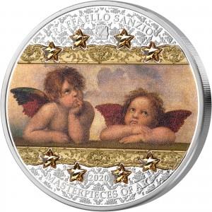 Andělé Sixtinské madony Raffaela Santiho - atraktivní stříbrná mince s krystaly Swarovski ve tvaru hvězd