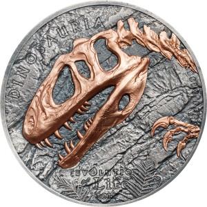Evoluce života - Sinraptor - prehistorický masožravý dinosaur na atraktivní stříbrné minci