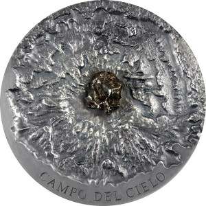 Mince s úlomkem meteoritu Campo del Cielo - limitovaná emise s hlubokým reliéfem