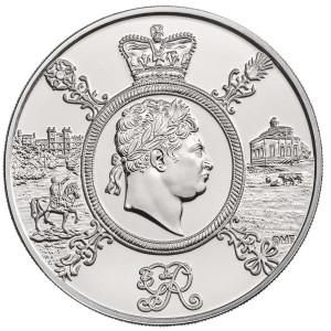 Nejdéle vládnoucí britský král Jiří III na atraktivní stříbrné minci
