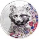 Nádherné vyobrazení psíka mývalovitého  na atraktivní parciálně kolorované stříbrné minci