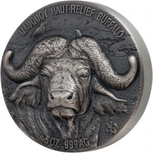 Buvol africký -  exkluzivní stříbrná mince s fascinujícím vysokým reliéfem - každá mince unikát díky ruční ražbě
