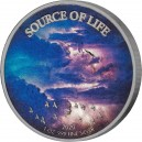 Vzduch symbol života na atraktivní stříbrné minci -zušlechtění palladiem a speciální aplikace chromatických barev