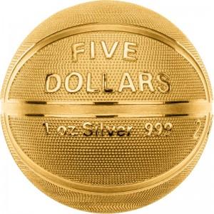 Legendární basketbalový míč - exkluzivní stříbrná mince sférického tvaru zušlechtěná ryzím zlatem