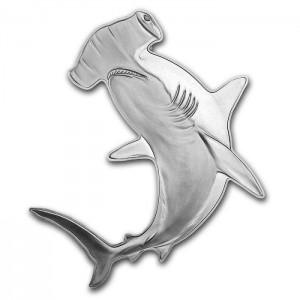 Žralok Kladivoun obecný na atraktivní stříbrné minci s vysokým reliéfem
