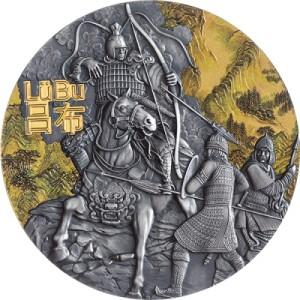 Legendární válečníci starověké Číny na atraktivní stříbrné mincí parciálně zušlechtěné zlatem