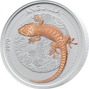 Gekon - ještěrka s prehistorickým původem - mincovní unikát zušlechtěný růžovým zlatem a speciální matnou keramikou